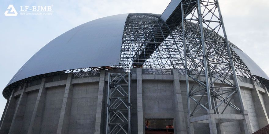 Prefab Space Frame Structures Power Plant Dome Dry Coal Storage Shed Construction