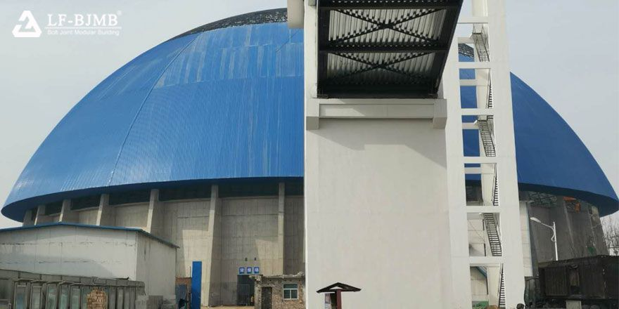 dome roof space frame structure coal shed