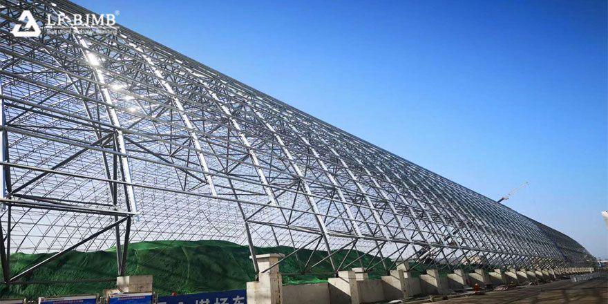 prefab space frame bulk storage shed roof