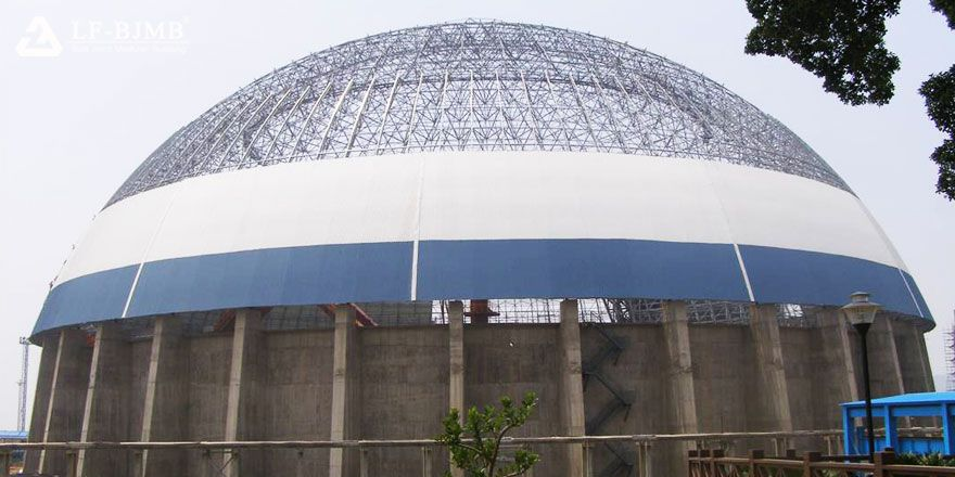 large span space frame dome roof clinker storage shed
