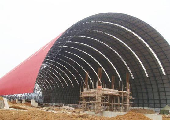 Prefab Barrel Space Frame Cement Plant Storage Shed