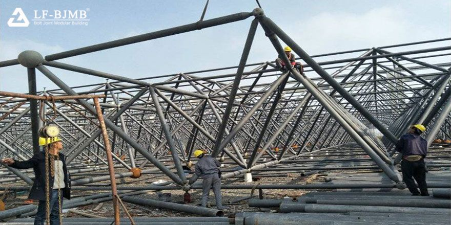 prefab steel space frame roof structure