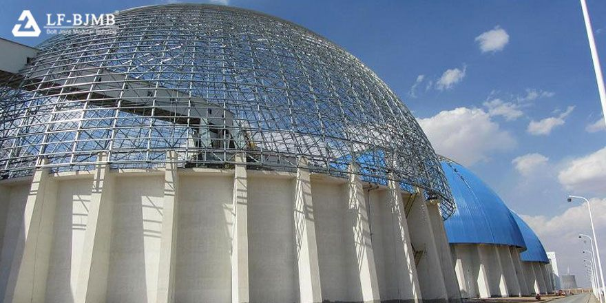 dome roof space frame structure coal storage shed