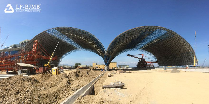 prefab space frame structure dry coal shed