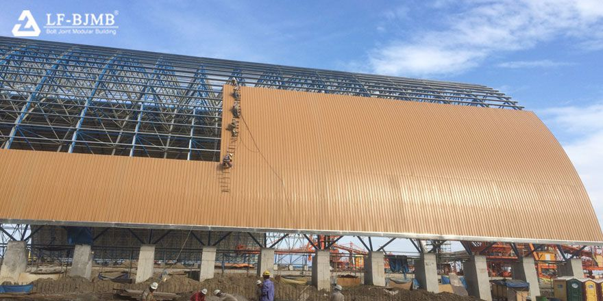large span space frame roof structure coal shed