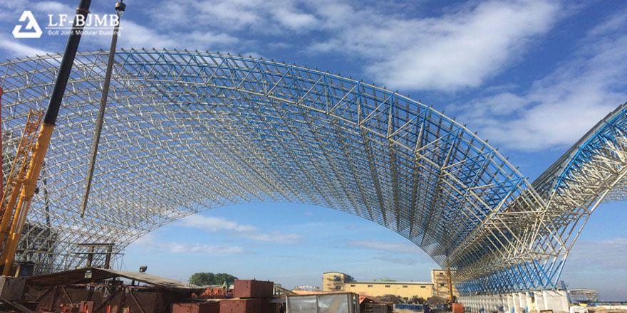 large span space frame roof clinker storage shed