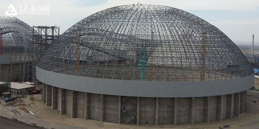 Light Steel Space Frame Structure Dome Silo Storage Roof System