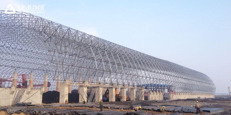 bulk storage space frame roof system
