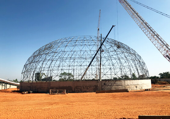 TKIS-Burkina Faso dome clinker storage&additive storage shed