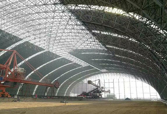 Development history and structure of dry coal shed space frame