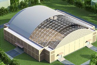 Design of Large-span Enclosed Cylindrical space frame Structure