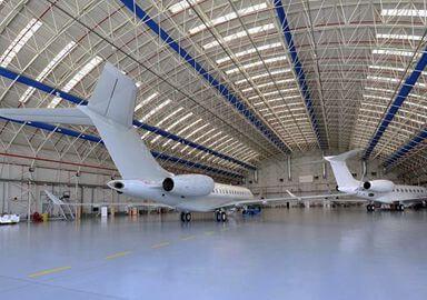 Prefab steel space frame hangar building metal aircraft hangar